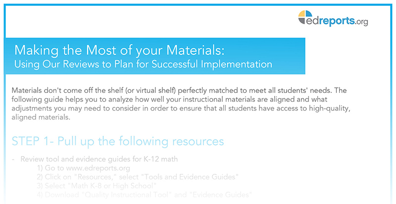 Making the Most of Your Math and ELA Materials Guides