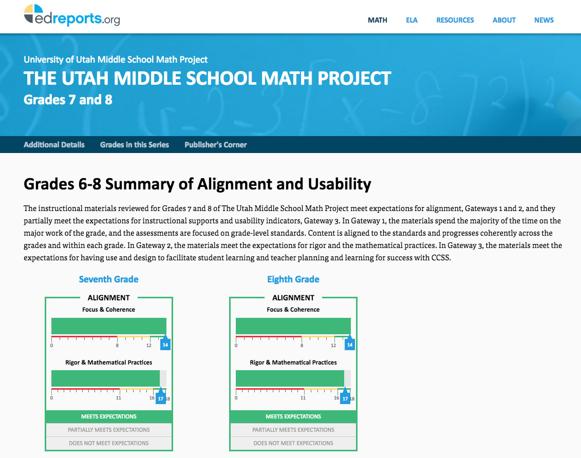 The Utah Middle School Math Project Grade 7 - EdReports.org